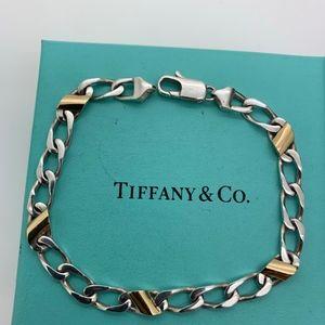 Tiffany & Co.925 18KT Figaro Bracelet 7.5'